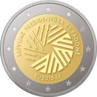 """Памятная монета """"Президентство Латвии в Совете ЕС""""_ аверс"""