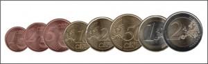 Монеты евро в сравнении